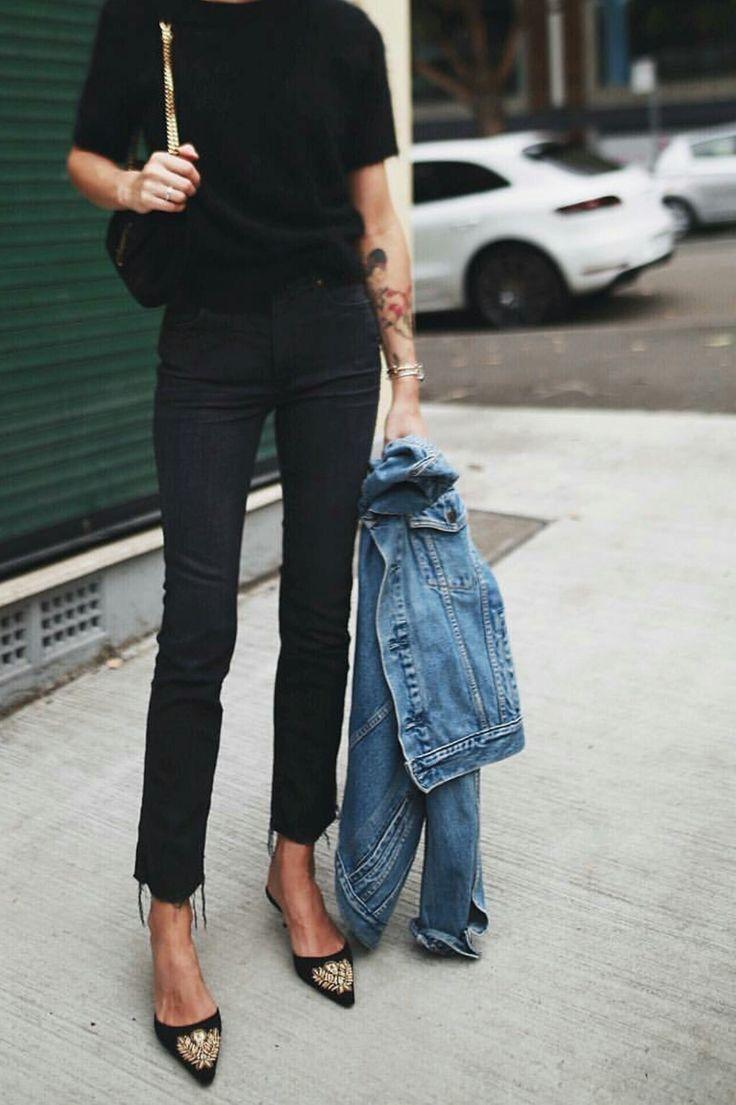 Black Skinny Jeans Denim Jacket Vintage Kitten Heels Fashion Street Style Clothes