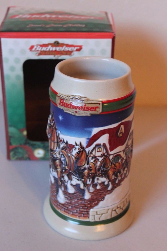Budweiser Stein Mug 1998 Grant's Farm Holiday Clydesdales Collector's Series