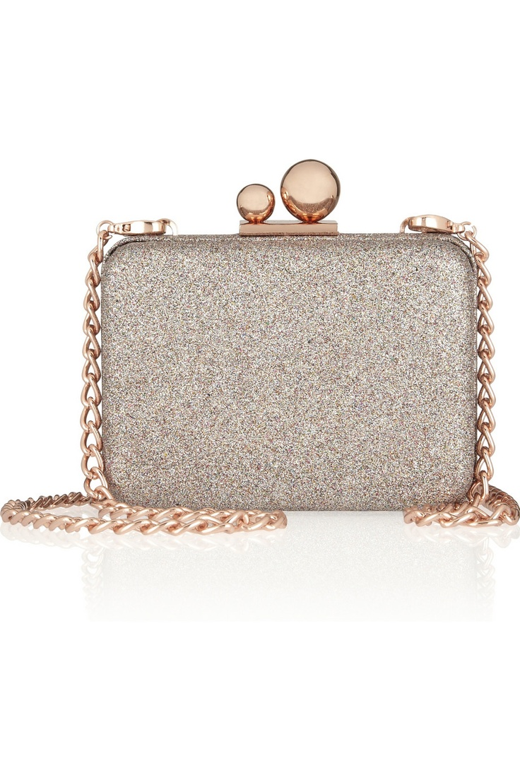 Sophia Webster | Azealia glitter-finished leather clutch | NET-A-PORTER.COM