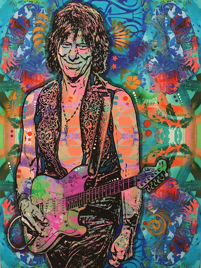 Jeff Beck - Blue Price£300.00 By Dean Russo   Giclee Print on fine art paper   Hand embellished with acrylic, spray paint and graphite   Limited Editions   Measures 18 x 24'
