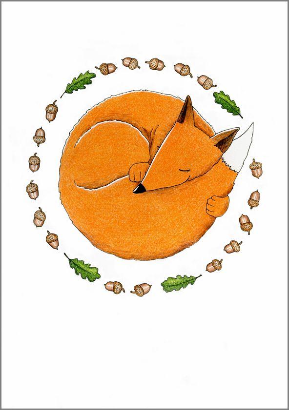Tammikettu. Mantelinan A4-printti. Alkuperäinen kuva: Elina Jasu. / The Oak Fox. Art print made by Elina Jasu for Mantelina.