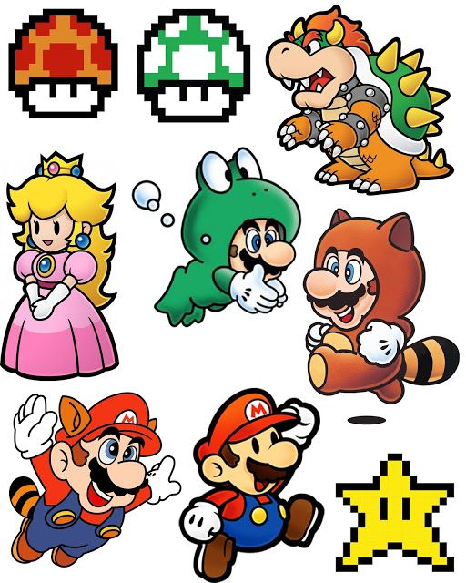 Printable for Super Mario Brothers Shrinky Dink Necklace for Video Games Day!