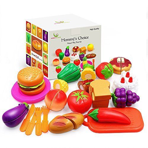 Pretend Play Food Set For Kids 50 Piece - Cutting Kitchen Toy Fruits Xmas Gift #MommysChoice