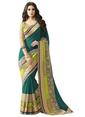 Green Colored Slub Georgette Saree By Saryu Sarees on Shimply.com