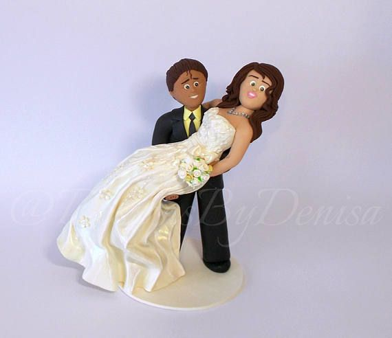 Hand Made Beautiful Unique Wedding Cake Toppers Groom Carrying