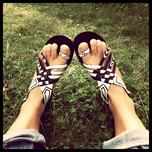 upgrade black sandals with a little white paint!