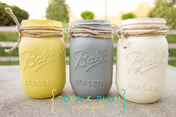 Shabby Chic Painted Mason Jars Yellow Gray White Wedding Centerpieces Baby Bridal Shower Country Wedding Home Decor on Etsy, $12.00