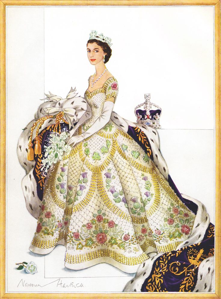 Norman Hartnell's final sketch for Queen Elizabeth II's coronation gown