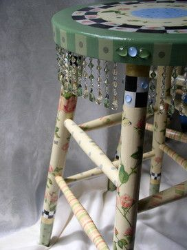 Hand Painted Whimsical Stool - furniture - new york - Sharon Mooradian Designs