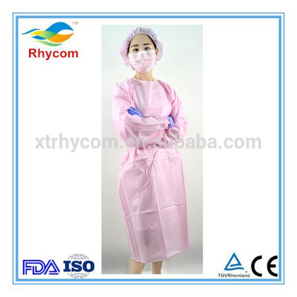 Cheap Disposable medical anti-bacterial waterproof surgical plastic pink lab coat