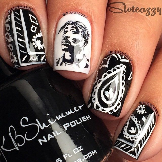 black white bandana nail design with Tupac Shakur decal by sloteazzy #fav