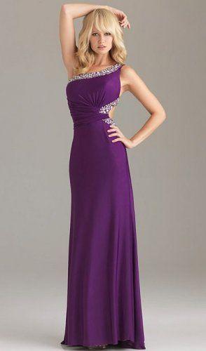 Purple Open Back Sequin Trim One Shoulder Prom Dress