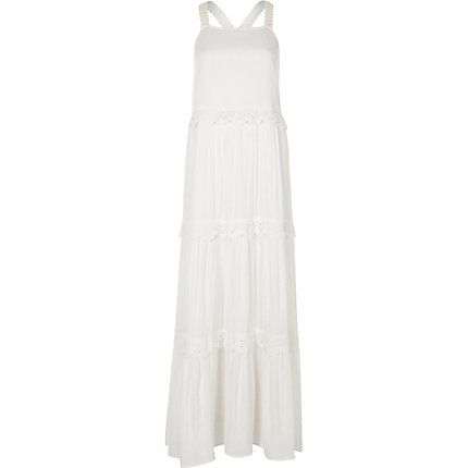 White tiered broderie maxi dress £50.00