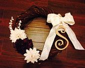 Vintage large breaded wooden wreath with pearls and lace! Burlap white chrysanthemum and violet hydrangea, pearl accent, wooden initial and lace bow!