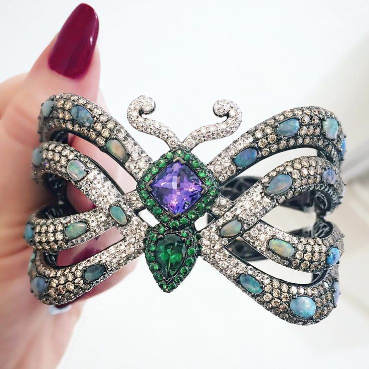 """""""A bejeweled @wendyyuejewellery butterfly cuff in honor of today's beautiful spring weather."""