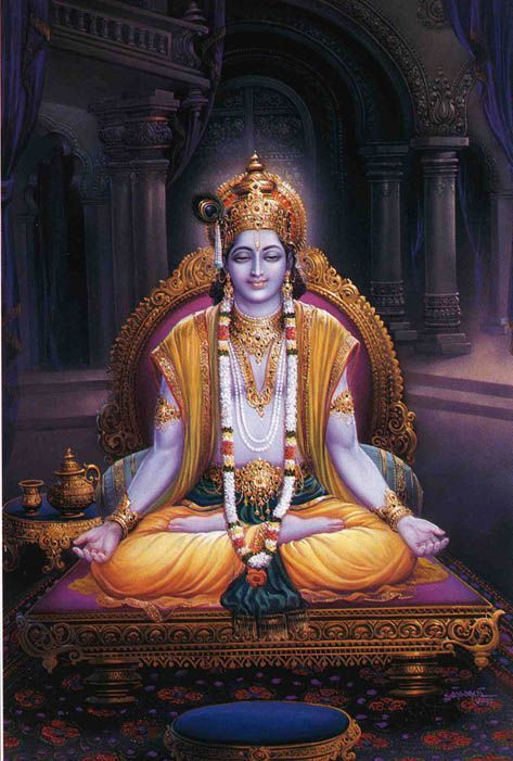 He sits in meditation... travelling through many universes... visiting many devotees.