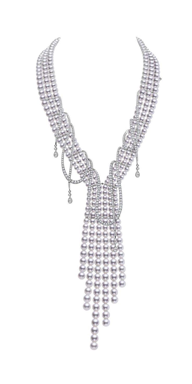 Mikimoto Regalia Collection Ayoka Cascade Necklace Featuring Baroque South  Sea Pearls And Diamonds