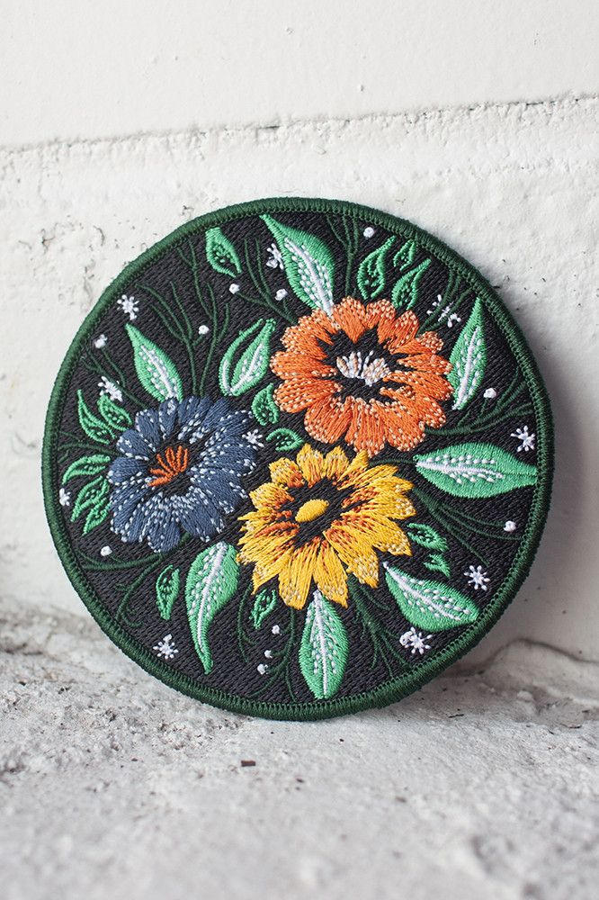 """3.5"""" embroidered patch with merrowed border and iron-on backing. Follow the instructions below to affix this patch to a garment of your choosing (click to enlarge)! For items that will be washed, sewing on is recommended."""
