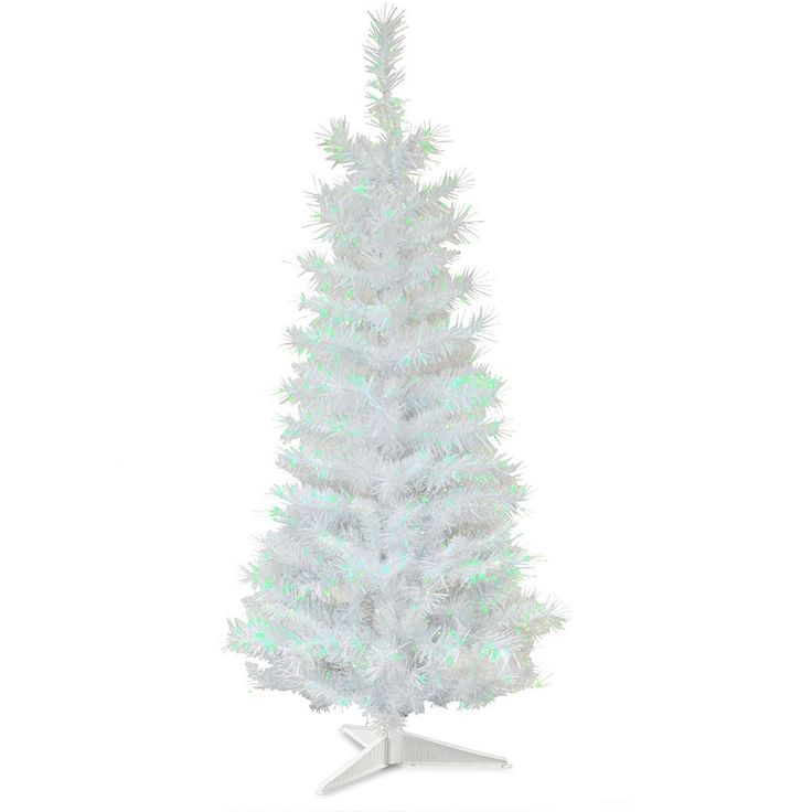 artificial christmas tree 3 foot white iridescent tinsel tree with plastic stand - 3 Foot White Christmas Tree
