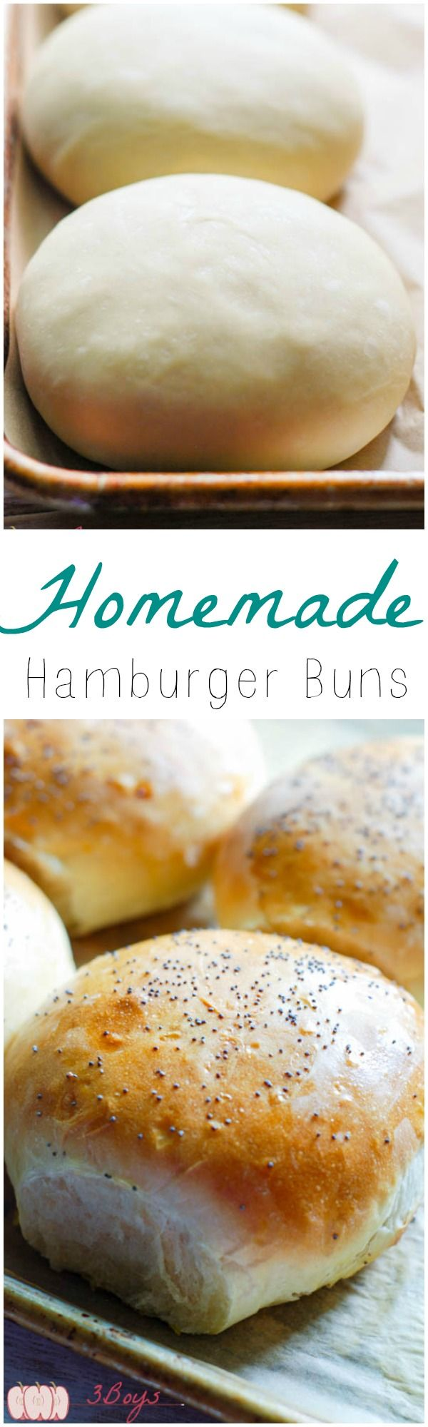 Easy Homemade Hamburger Buns just in time for summer grilling! @3BoysUnprocess
