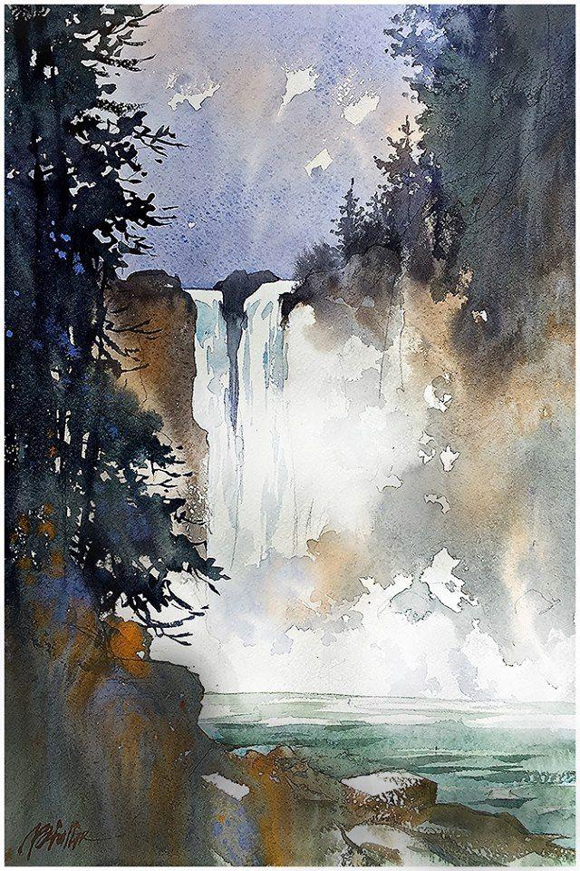 """Snoqualmie Falls - Washington"" Thomas W Schaller Watercolor Plein-Air Sketch on Fabriano Artistico 13x12 inches - 15 July 2015"
