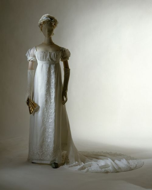 """Elizabeth Patterson Bonaparte's  Wedding Dress, described as a dress so small that it """"would fit easily into a gentleman's pocket."""" They were married on Christmas Eve 1803 (MET Museum)."""