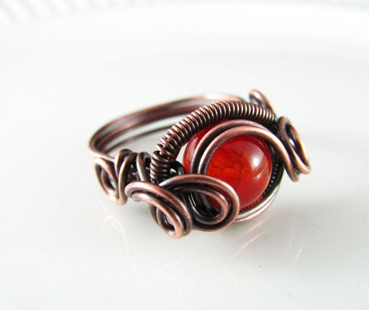 Wire Wrapped Ring Genuine Orange Agate Ring Dragon's Eye Ring Wire Wrapped Jewelry Copper Ring Size 7 Copper Jewelry Agate Jewelry by PolymerPlayin on Etsy