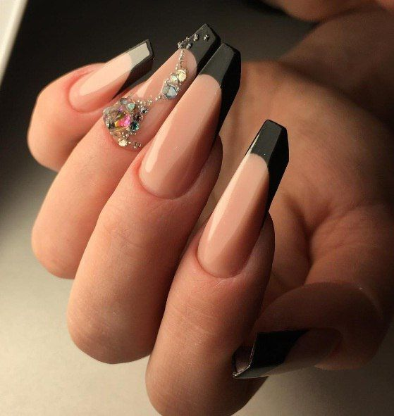 Nude + Black French  Blade Nails