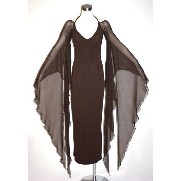 HALSTON Vintage Gown Brown Backless Halter Angel Sleeve Maxi Dress... ❤ liked on Polyvore featuring dresses, gowns, vintage evening gowns, long chiffon dress, long sleeve evening dresses, vintage dresses and long evening dresses