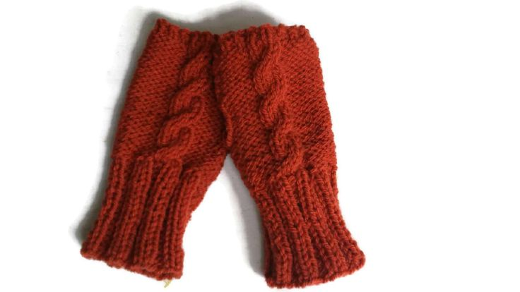 Aran Wristwarmers,Rust Knitted Wrist Warmers, Aran Gloves, Cable Gloves, Gloves and Mittens, Woolen by thekittensmittensuk on Etsy