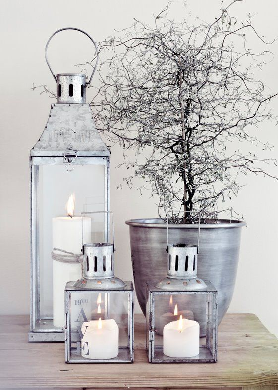 Cosy rustic silver lanterns #candles #home