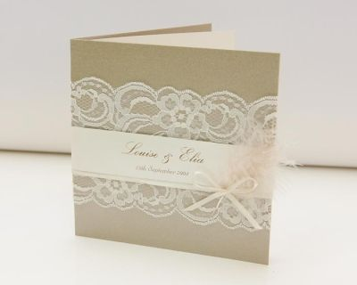 Love the elements.  http://opulentcreationsevents.squarespace.com/blog/2010/5/3/lace-in-your-wedding-invitations.html