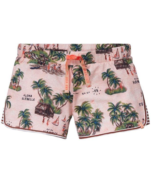 Scotch AOP Shorts Herlig sommershorts med Hawaiinspirert trykk. Bred midjestrikk med fin knytesnor. Stripet stoff innfelt i sidene.100%bomull. Vask 30ºC