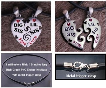 Emilee wanted me to look for a sisters necklace for her to give to Abby for Christmas, I found this one and think it;s so cute!  Amazon.com: Big Sis & Lil Sis Heart Pendant Necklaces with chains. Pewter (2) piece set with PVC ropes are a great gift idea for an older big sister or a younger little sister! (Broken Heart Friendship jewelry design - Sister jewelry / sister gifts): Home & Kitchen