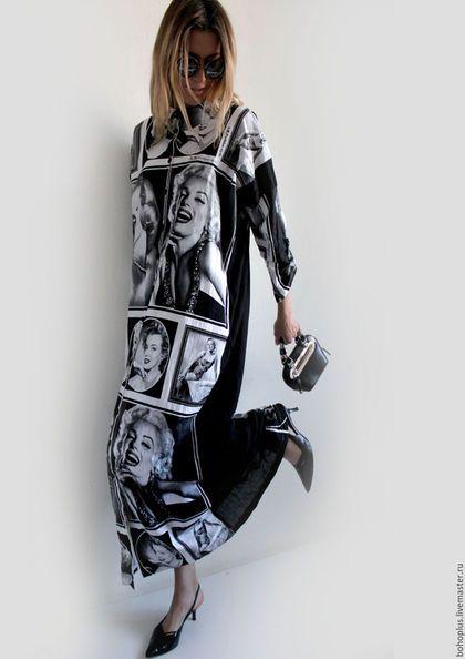 Купить или заказать Платье рубашка 'Монро2' в интернет-магазине на Ярмарке Мастеров. Старые фильмы, В них есть что то И что же в них? Или Монро красивее иных, Или наивна та яркая жизнь, В сюжетах киношных и простых? Яркое платье рубашка из хлопковой ткани с принтами портретов Мерлин Монро. Прямого кроя, с застежкой на пуговицы до низа изделия. Образ этой актрисы всегда приносил удачу на чем бы он не был напечатан. Удачи вам.