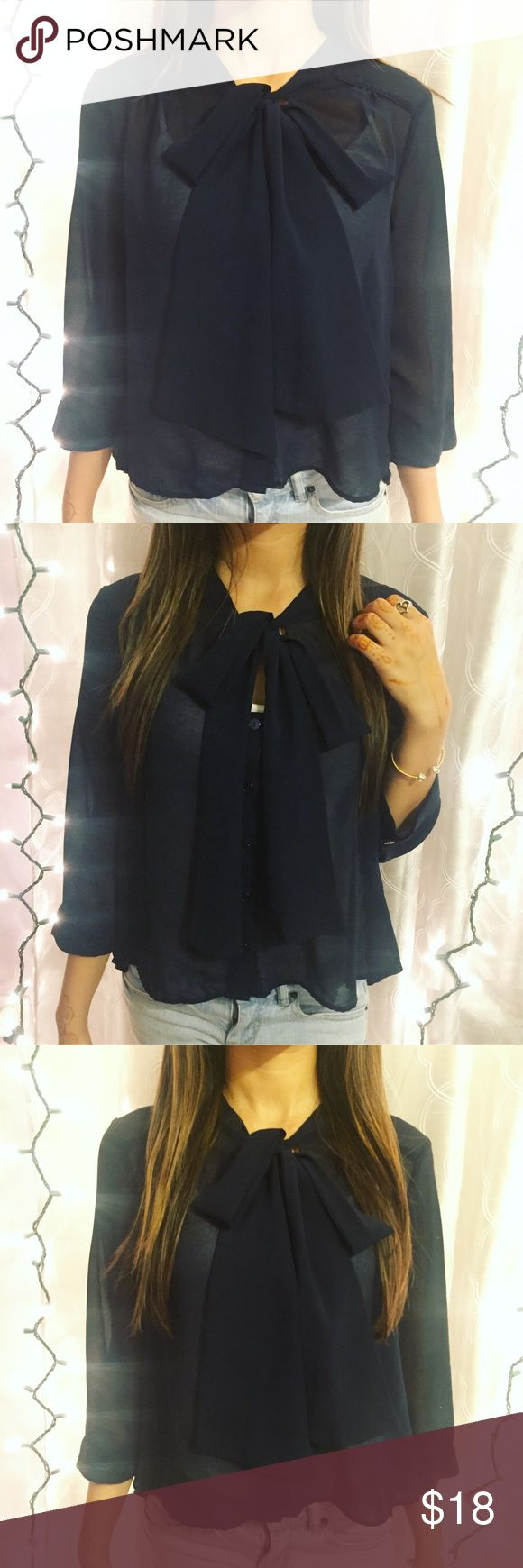 Navy blue, bow tie blouse Forever 21 navy blue, bow tie blouse Forever 21 Tops Blouses