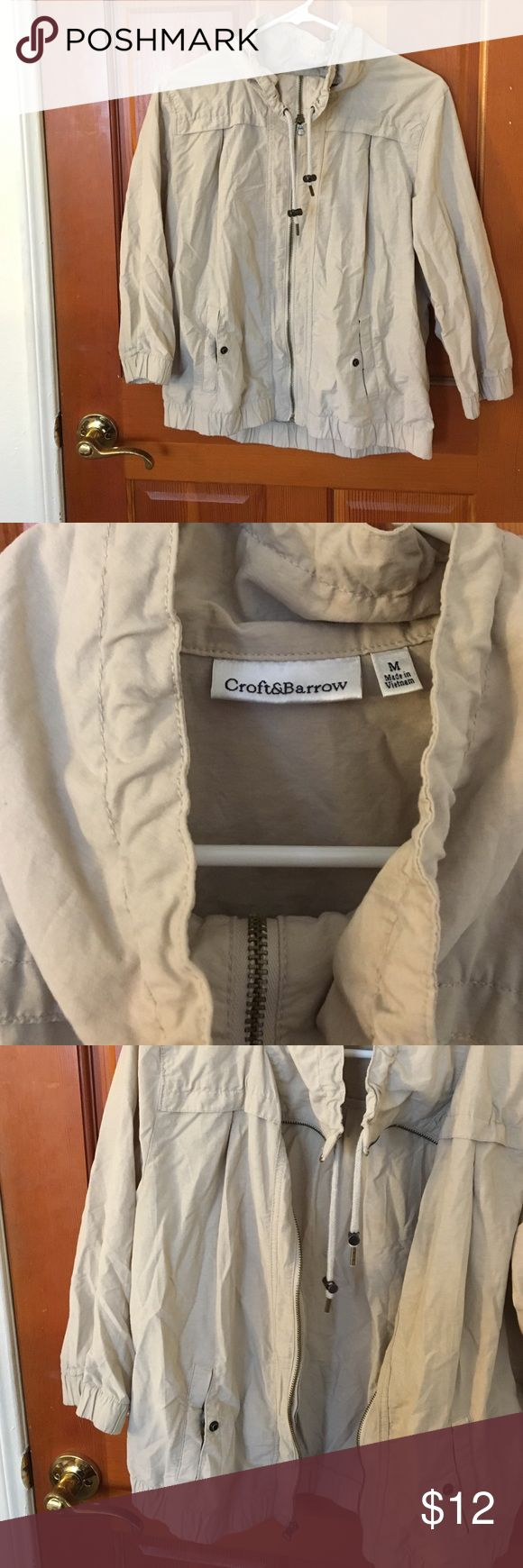 Short Zip Up Jacket Soft Beige zip up jacket great to layer with a dress or top for the fall! Zip up with snap pockets and adjustable scrunch neck croft & barrow Jackets & Coats Utility Jackets