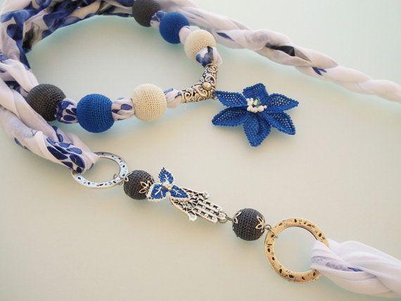 Hamsa necklace Blue scarf necklace Beaded by emekemektasarim