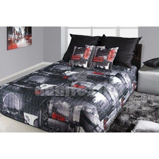 Prehoz na posteľ čiernej farby s motívom mesta Londýn