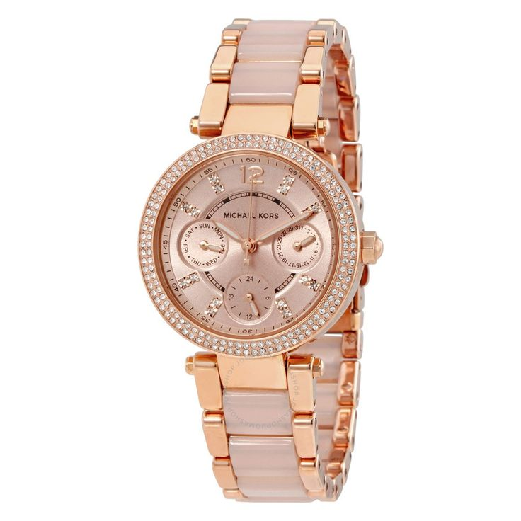 Michael Kors Parker Mini Multi-Function Rose Dial Rose Gold-tone and Blush Acetate Ladies Watch