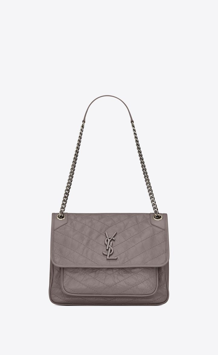 SAINT LAURENT MEDIUM NIKI CHAIN BAG IN VINTAGE CRINKLED AND QUILTED FOG  LEATHER.  saintlaurent  bags  shoulder bags  leather   6b339f6968669