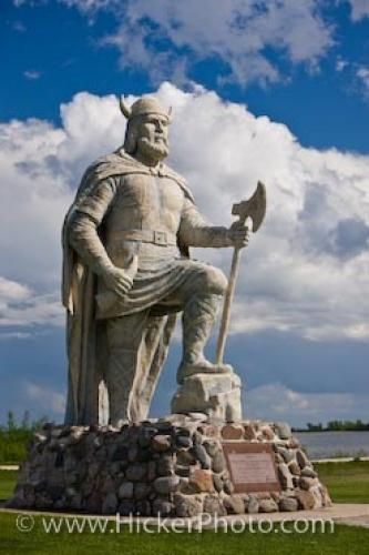 Noble Viking Statue in the town of Gimli, Manitoba, Canada - photo by Rolf Hicker