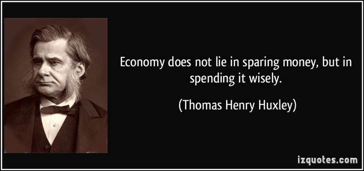 Economy does not lie in sparing money, but in spending it wisely. - Thomas Henry Huxley