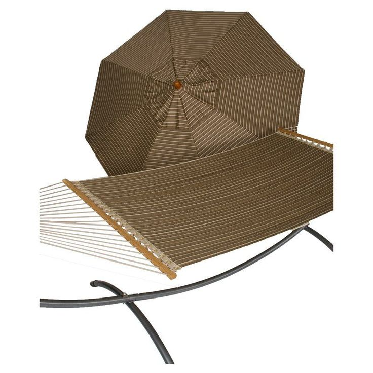 Phat Tommy 9 ft. Sunbrella Umbrella and Reversible Quilted Hammock Set Cocoa - 330/355-COMBO.COCOA