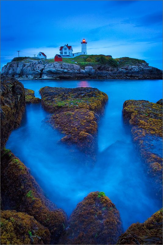 ~~Nubble head light | blue hour at the lighthouse, Maine