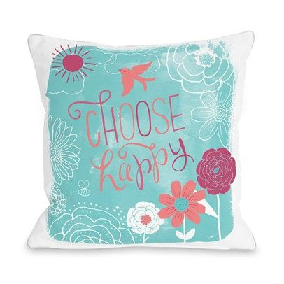Choose Happy Ozsale White Blue 16x16 Pillow-73277PL16-White-Blue