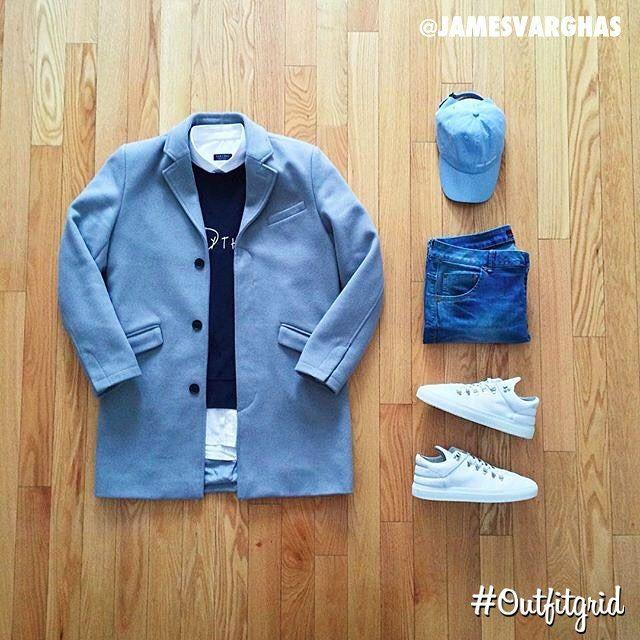 Today's top #outfitgrid is by @jamesvarghas. ▫️#Topman #Coat ▫️#AcneStudios #Sweater ▫️#Zara #Shirt & #Denim ▫️#NonIdentifie #Hat ▫️#FillingPieces #Sneakers