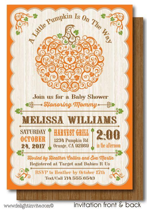 Little Pumpkin Fall Baby Shower Invitation Printable Digital, printed Lil' Pumpkin theme baby shower invites
