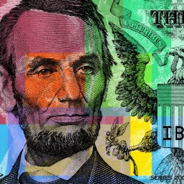 Abraham Lincoln Pop Art - $5 bill - Limited Edition 1 of 1