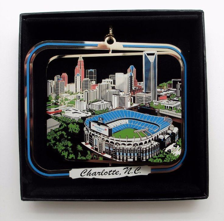 Charlotte NC Ornament City Skyline Football Stadium Black Leatherette Gift Box